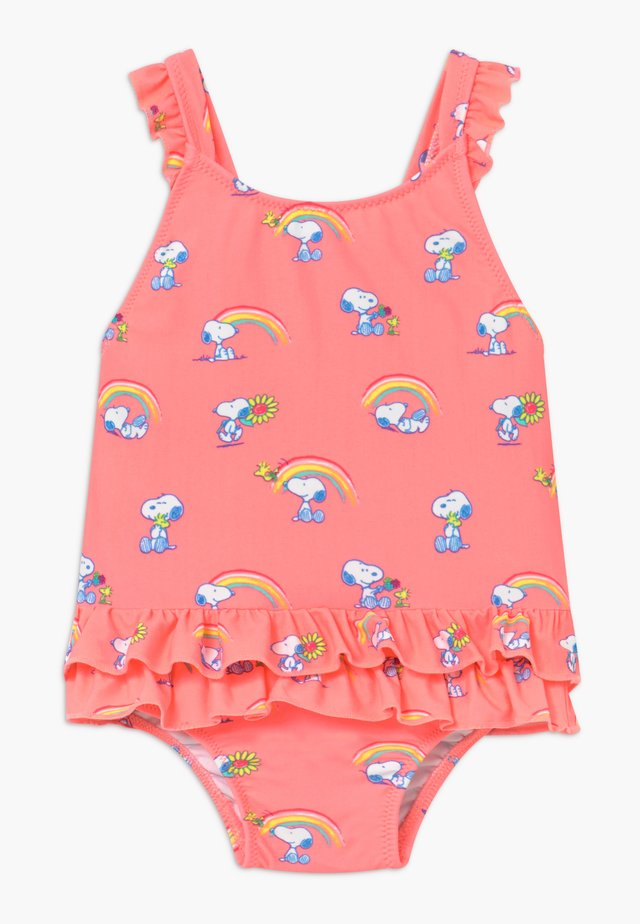 GIRLS PINK SNOOPY FRILL SWIMSUIT - Badeanzug - pink