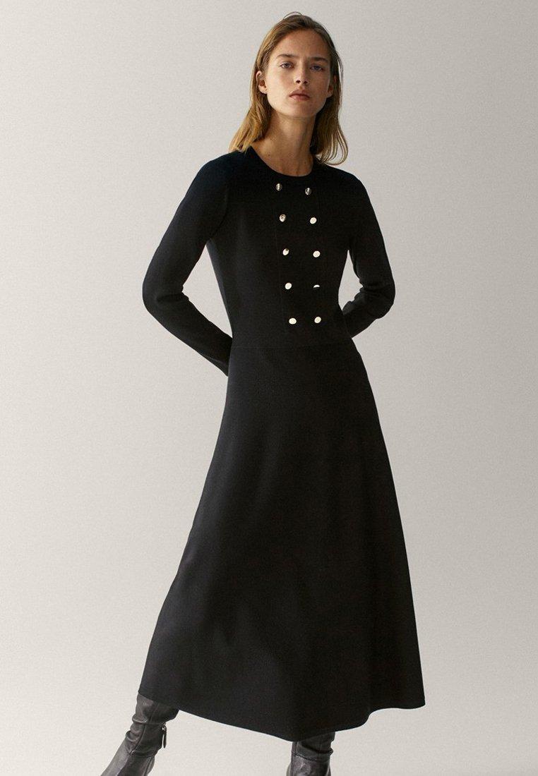 Massimo Dutti Stickad klänning black Zalando.se