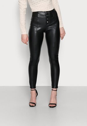 ONLZABO BUTTON - Leggings - black