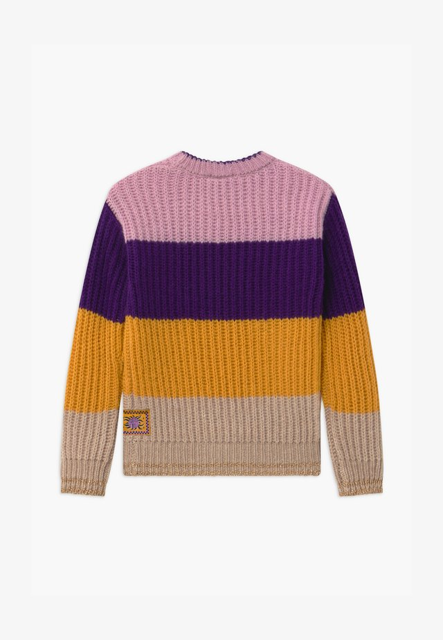 COLOUR BLOCK CREWNECK - Strikpullover /Striktrøjer - purple/yellow