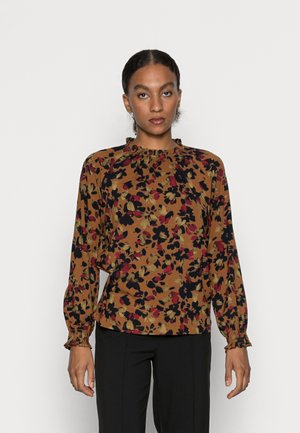 FITZROY FRILL NECK TOP - Blouse - toffee brown