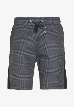 PANELLED CHECKERED SCRIPT  - Tracksuit bottoms - charcoal