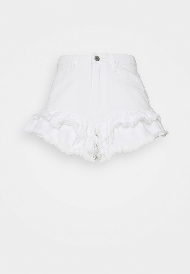 VINTAGE PICNIC RUFFLE SHORT RECYCLED - Shorts di jeans - white
