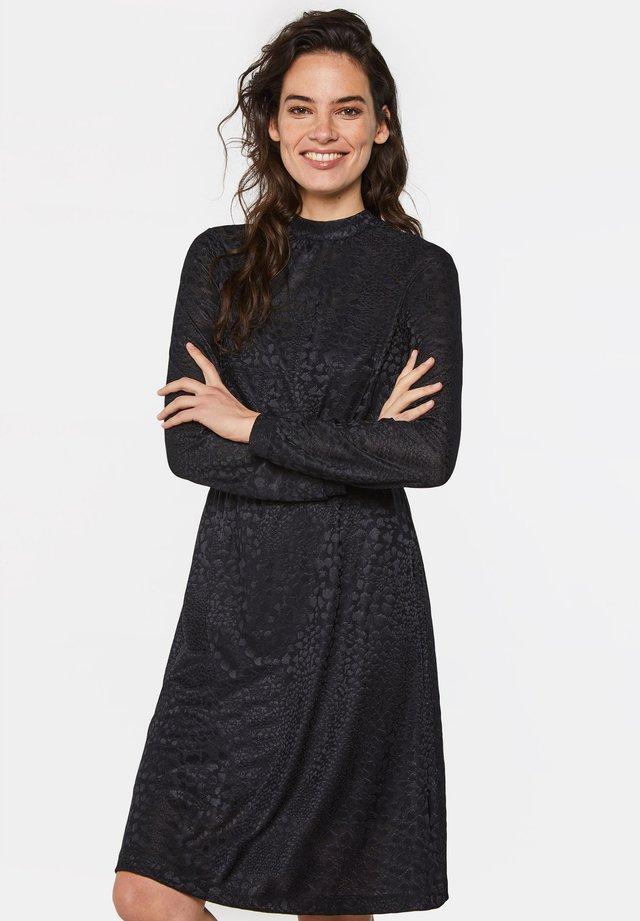 MET INGEWEVEN DESSIN - Day dress - black