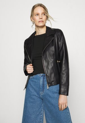 SIDE - Leather jacket - black