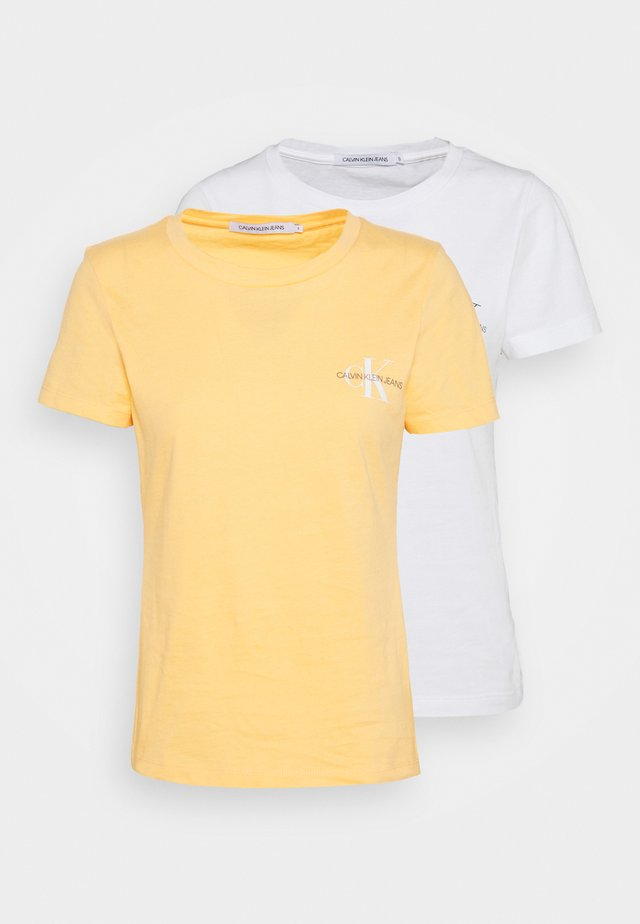 SLIM 2 PACK - Print T-shirt - crushed orange/bright white