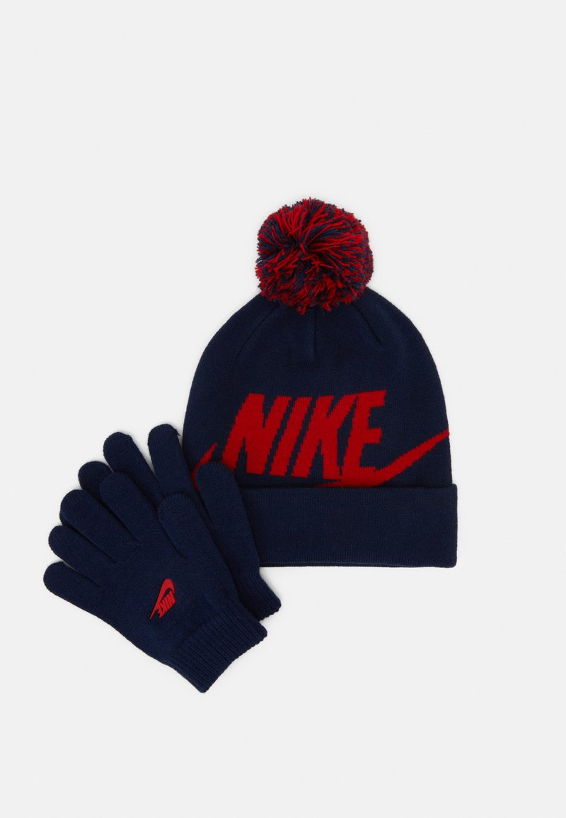 Nike Sportswear - POM BEANIE GLOVE SET - Gloves - midnight navy