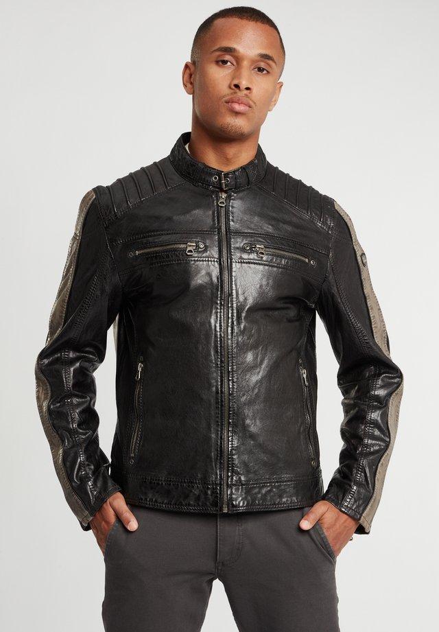 Leren jas - black/taupe
