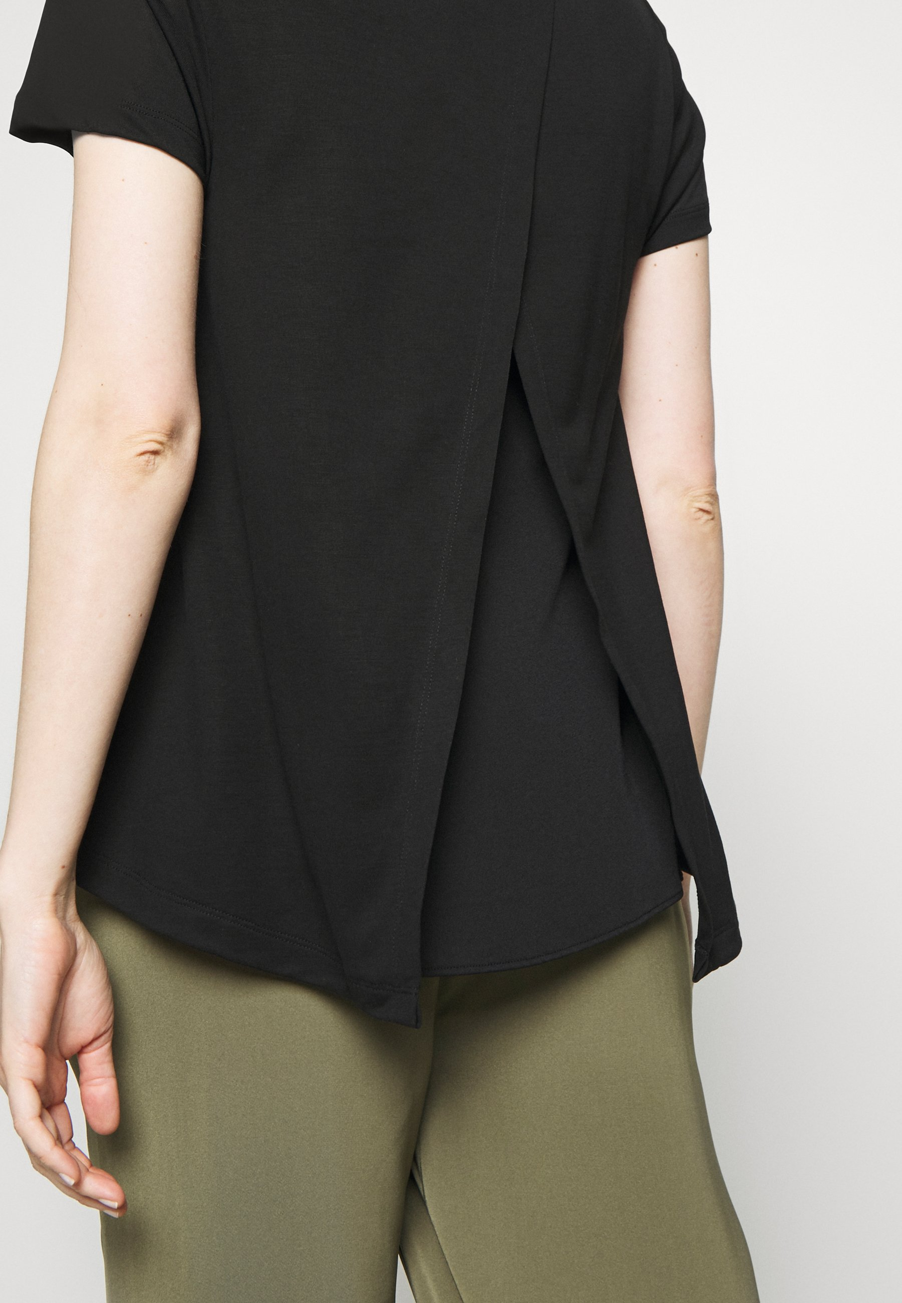 Marc O'polo Pure Crew Neck Sheer Short Sleeve Slit At Back With - T-shirts Black/svart