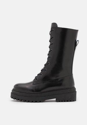 SLFASTA CHUNKY LACEUP BOOT  - Platform boots - black