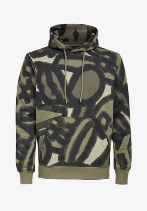BRUSH STROKE ALLOVER HOODED - Hoodie - shamrock brushed objects