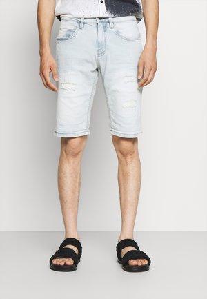 KADEN HOLES - Denim shorts - bleached denim