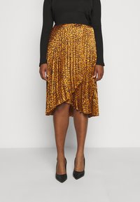 CAPSULE by Simply Be - ANIMAL PRINT WRAP FRONT PLEATED MIDI SKIRT - A-line skirt - tan/black - 0