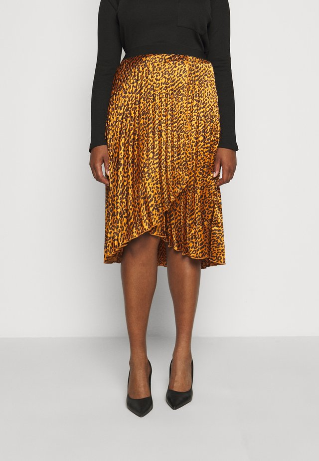 ANIMAL PRINT WRAP FRONT PLEATED MIDI SKIRT - Jupe trapèze - tan/black