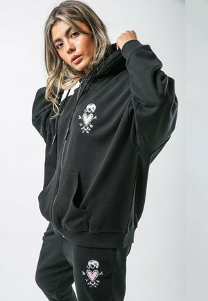 SKULL-PINK ZIP HOODY LADIES (DUAL SIZE) - Zip-up hoodie - black