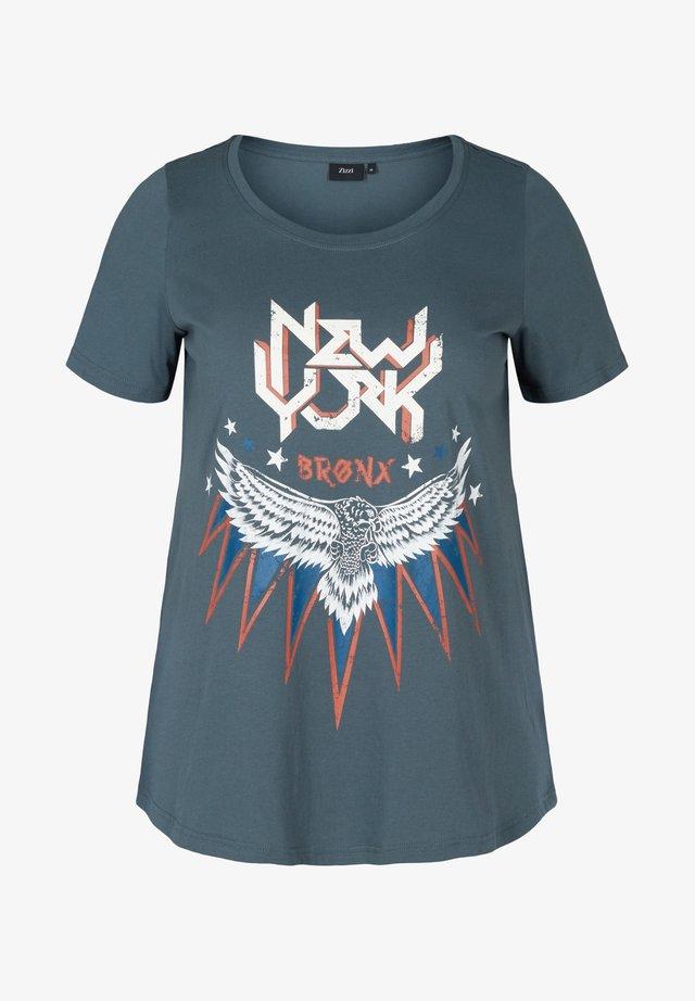 KURZARM MIT PRINT - Print T-shirt - dark grey
