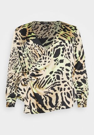WRAP LEOPARD PRINT BLOUSE - Blouse - brown