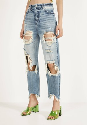 MIT RISSEN - Jeansy Straight Leg - blue denim
