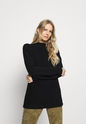 LONGSLEEVE STRUCTURE MIX TURTLENECK - Strickpullover - black