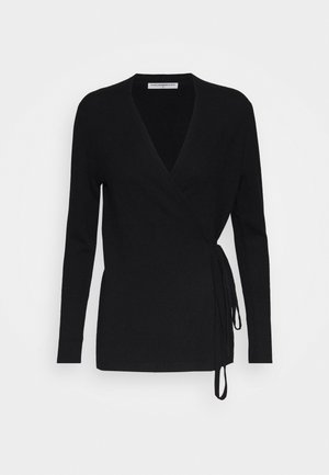 WRAP CARDIGAN - Strickjacke - black