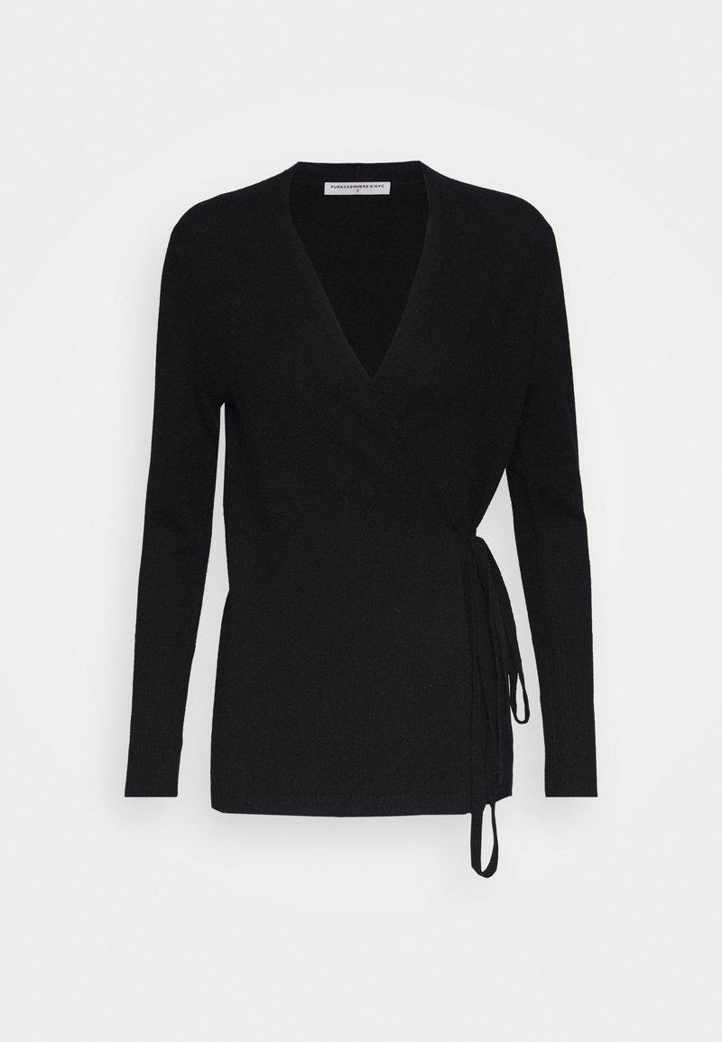pure cashmere - WRAP CARDIGAN - Kardigan - black