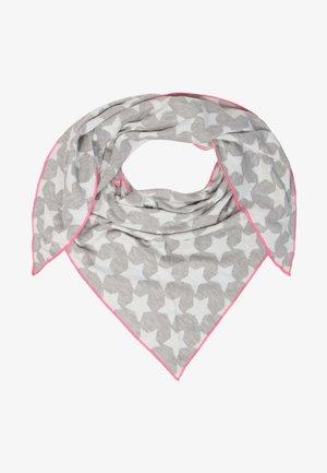Foulard - hellgrau mit pinker kante