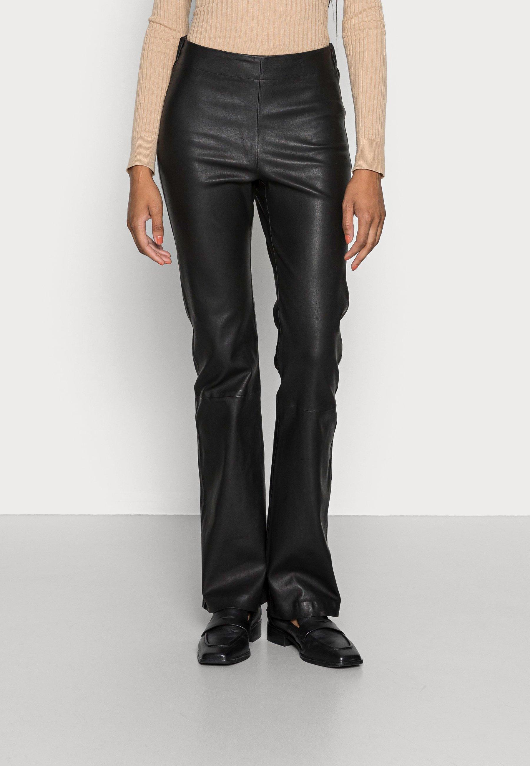 Women CEDAR LONG PANTS - Leather trousers