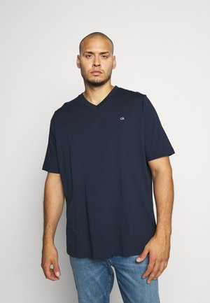 LOGO V NECK - T-shirt basic - blue