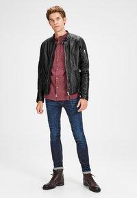 Jack & Jones - BIKER-STYLE - Leather jacket - black - 1