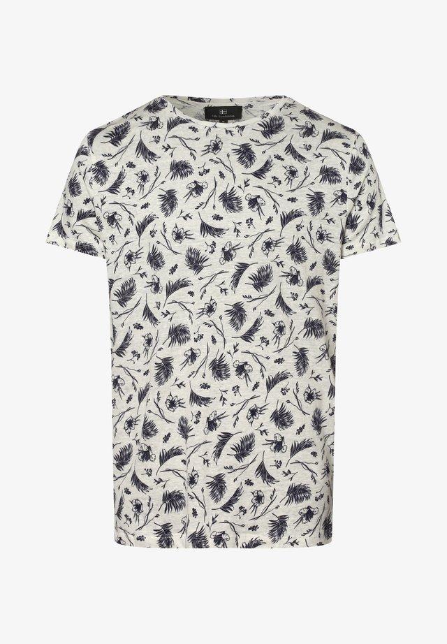 Print T-shirt - ecru blau