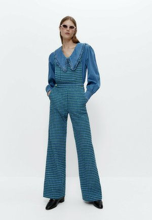 MIT HAHNENTRITTMUSTER  - Dungarees - blue
