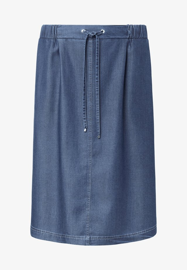 MIT TUNNELZUGBÄNDCHEN - A-line skirt - blue denim