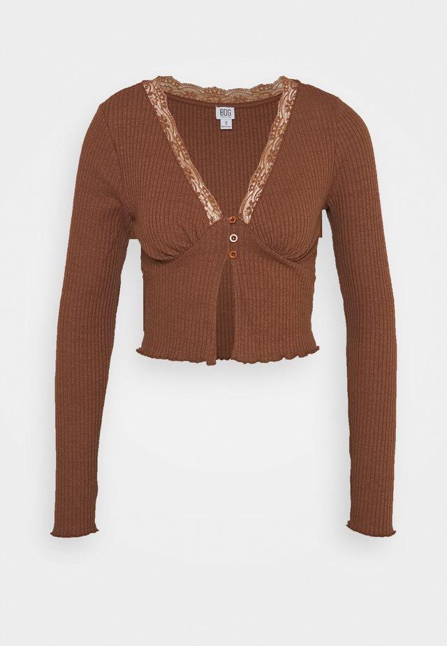 VNECK LACE CARDIGAN TOP - Cardigan - brown