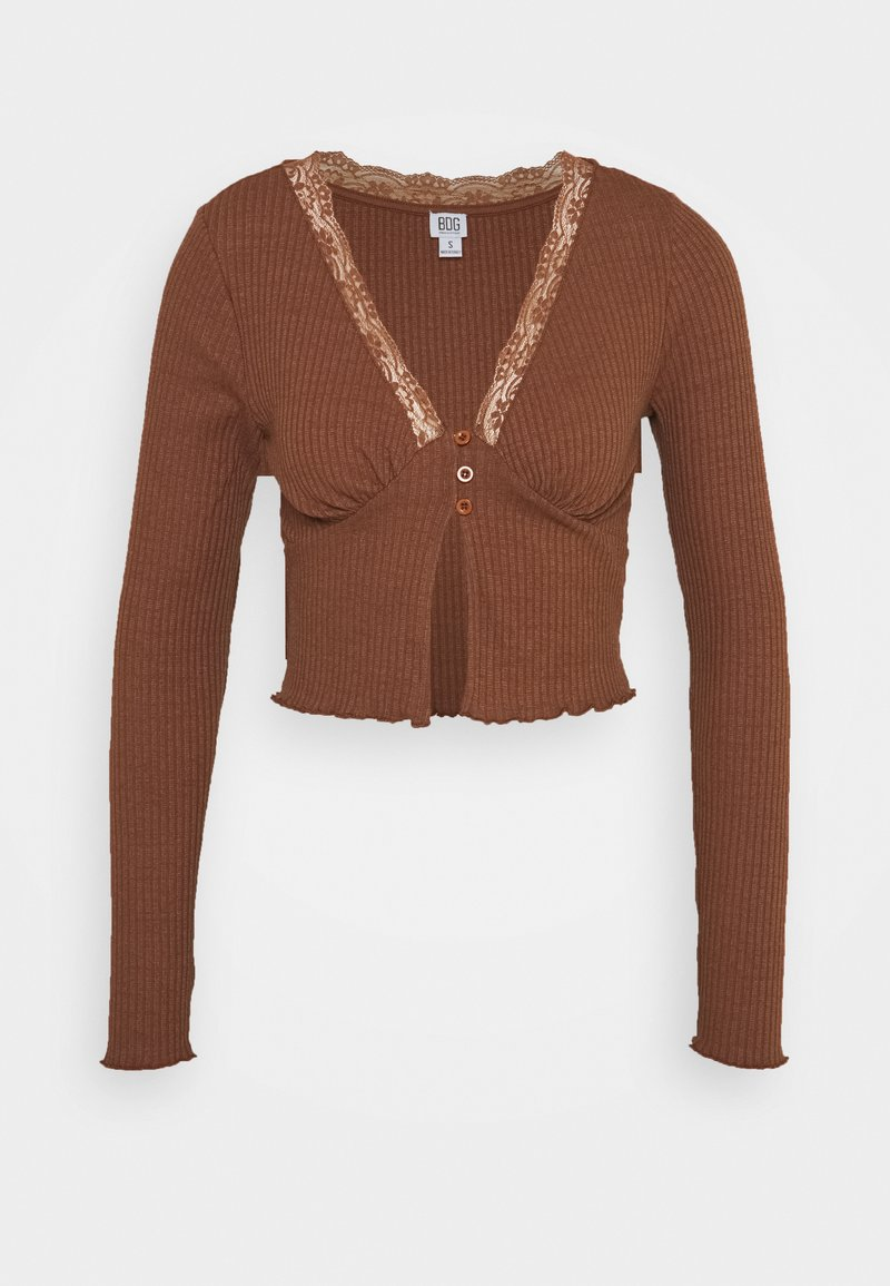 BDG Urban Outfitters - VNECK LACE CARDIGAN TOP - Strikjakke /Cardigans - brown