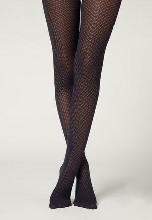 70 DENIER MIT - Leggings - Stockings - blau - blue chevron