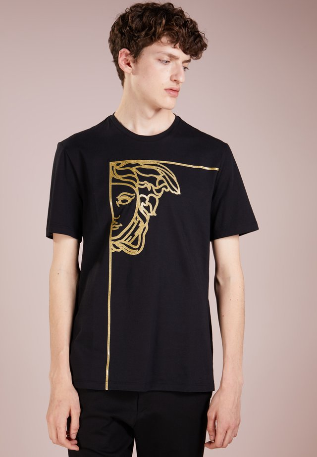 T-shirt z nadrukiem - nero/oro