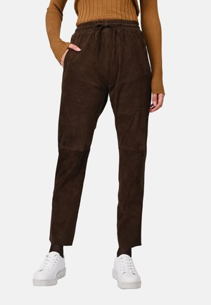 GIFT - Leather trousers - brown