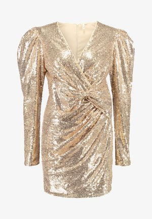 PUFFY POWER SEQUIN DRESS - Koktejlové šaty / šaty na párty - gold