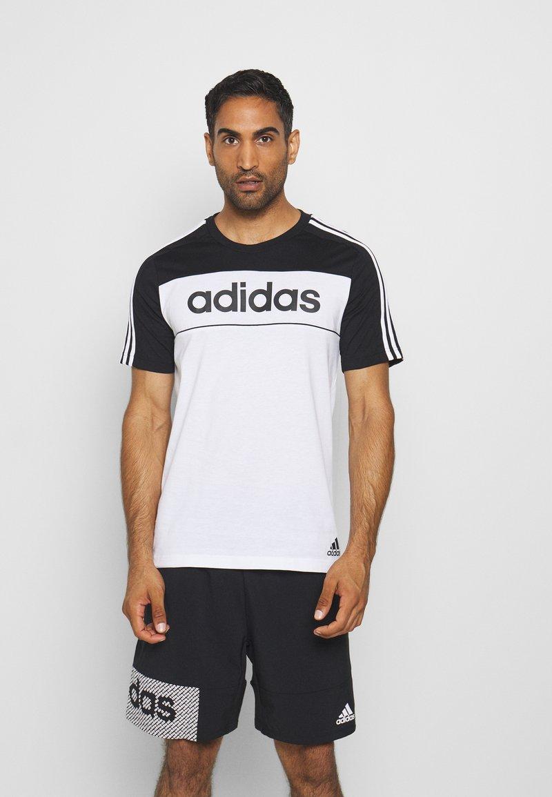 adidas Performance - ESSENTIALS TRAINING SPORTS SHORT SLEEVE TEE - Print T-shirt - black/white