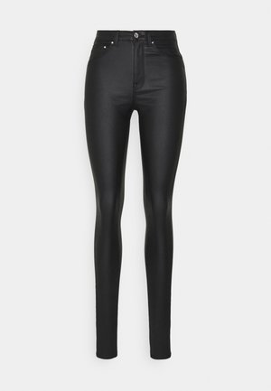ONLPAOLA SKINNYCOATED - Spodnie materiałowe - black