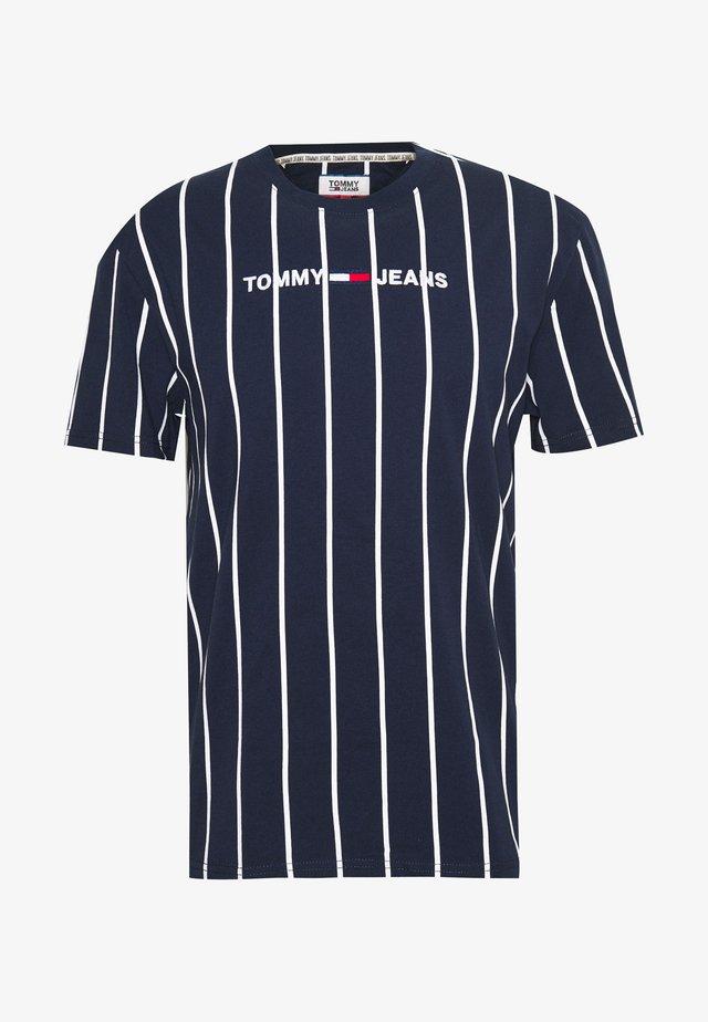 VERTICAL STRIPE LOGO TEE - T-shirt print - twilight navy/white
