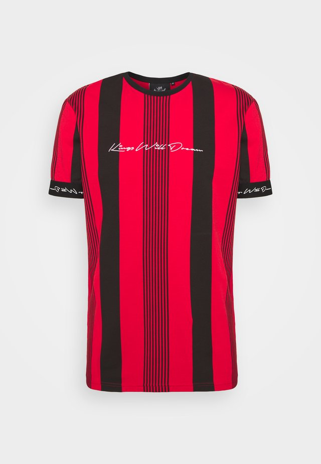 VEDTON STRIPE TEE - T-shirt print - red/black