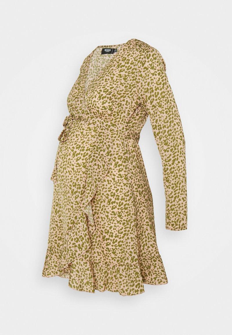 Missguided Maternity - WRAP RUFFLE MINI DRESS - Day dress - pink