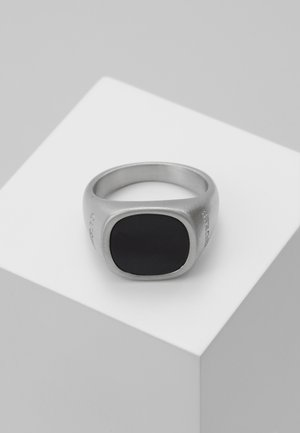 SQUARED BLACK STONE RING  - Anello - silver-coloured