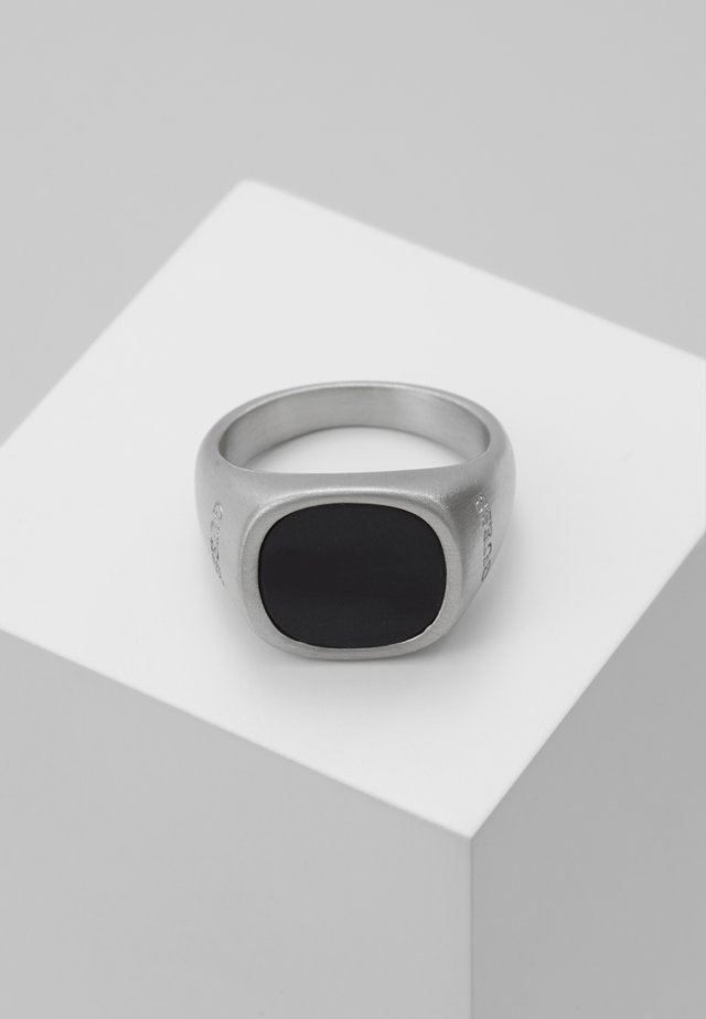 SQUARED BLACK STONE RING  - Bague - silver-coloured