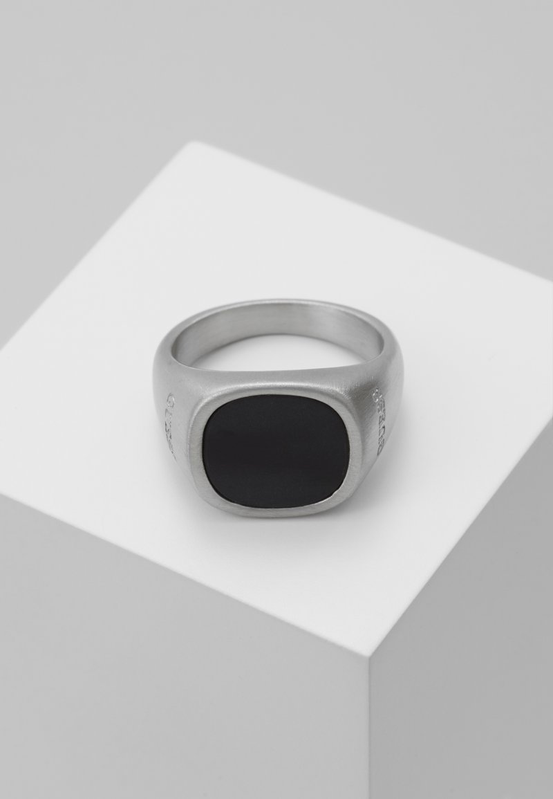 Guess - SQUARED BLACK STONE RING  - Ring - silver-coloured