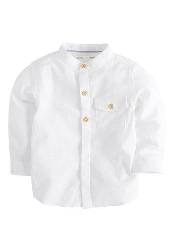 BLUE LONG SLEEVE LINEN MIX GRANDAD SHIRT (3MTHS-7YRS) - Shirt - white