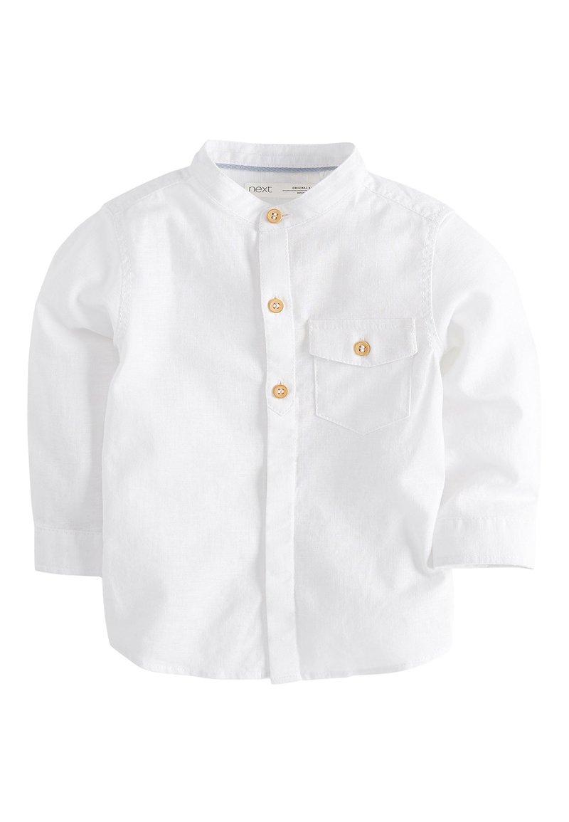 Next - BLUE LONG SLEEVE LINEN MIX GRANDAD SHIRT (3MTHS-7YRS) - Overhemd - white