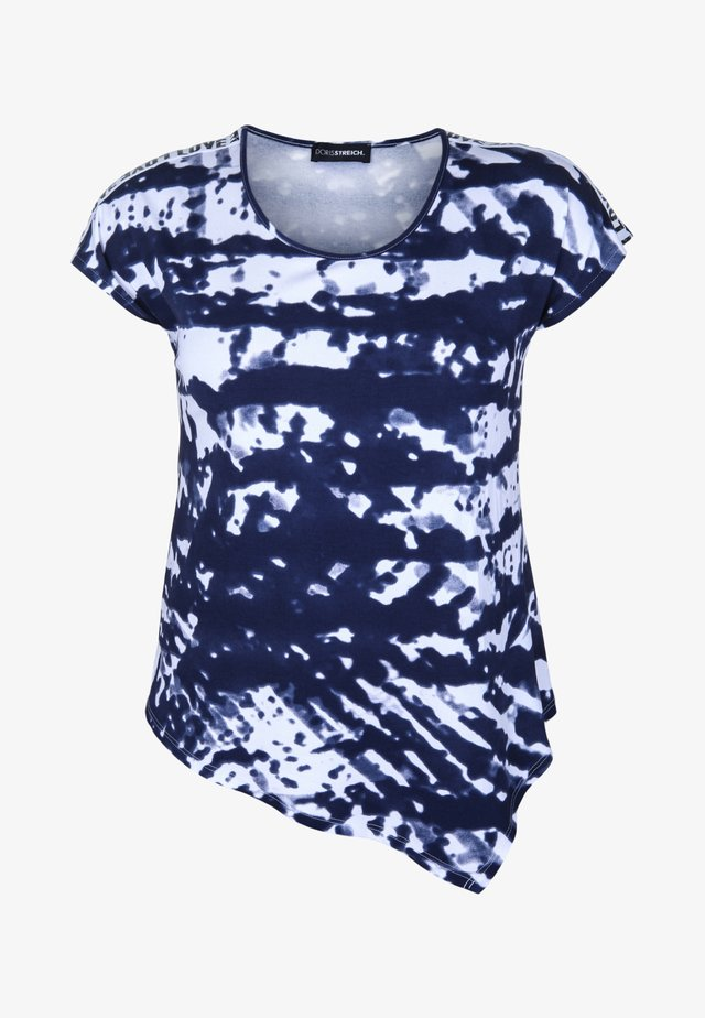 SHIRT MIT ZIPFELSAUM - T-shirt con stampa - marine