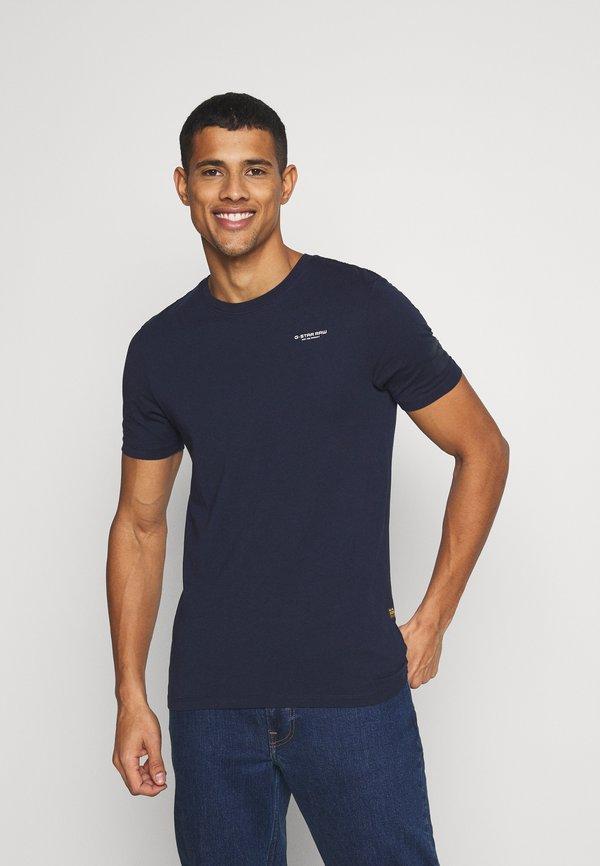 G-Star TEXT SLIM - T-shirt z nadrukiem - sartho blue/granatowy Odzież Męska ZHCI